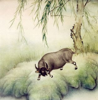 Chinese Cattle Painting,66cm x 66cm,4545003-x