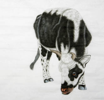 Chinese Cattle Painting,66cm x 66cm,4670016-x