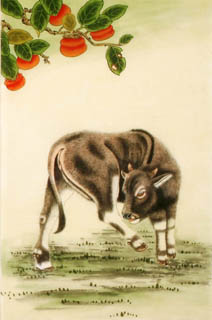 Chinese Cattle Painting,69cm x 46cm,4670019-x
