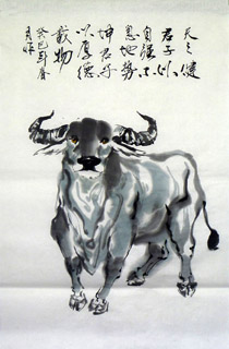 Chinese Cattle Painting,65cm x 100cm,4695079-x