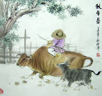 Chinese Cattle Painting,69cm x 69cm,4805002-x