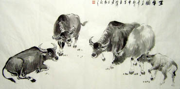 Chinese Cattle Painting,69cm x 138cm,4805003-x