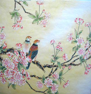 Chinese Cherry Blossom Painting,66cm x 66cm,2011016-x