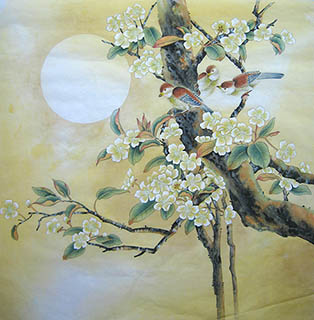 Chinese Cherry Blossom Painting,66cm x 66cm,2011017-x