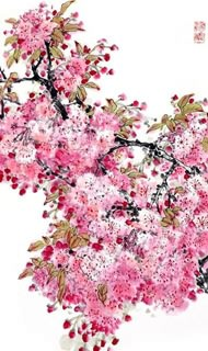 Chinese Cherry Blossom Painting,55cm x 95cm,2359001-x