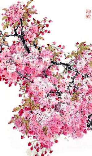 chinese cherry blossom painting 2359001 55cm x 95cm22 x