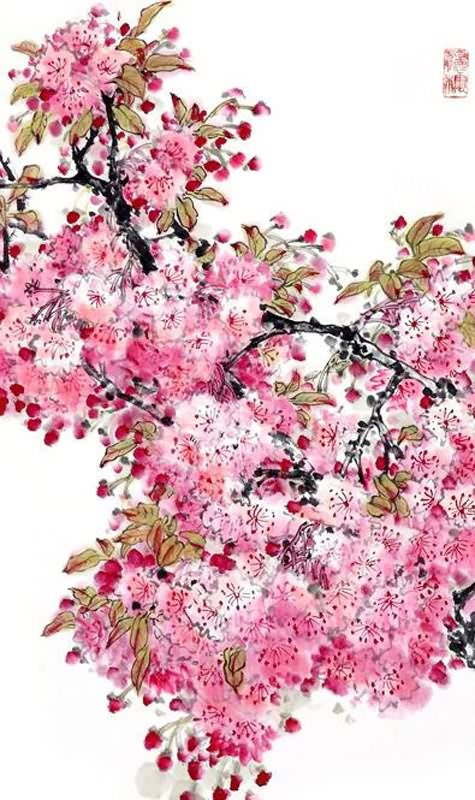 Chinese painting cherry blossom for Cherry blossom mural works