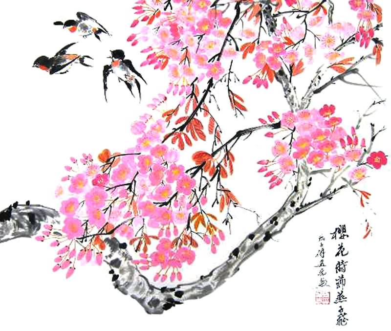 Chinese Cherry Blossom Painting 2359002, 50cm x 60cm(19〃 x ...