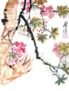 Chinese Cherry Blossom Painting,34cm x 46cm,2359003-x