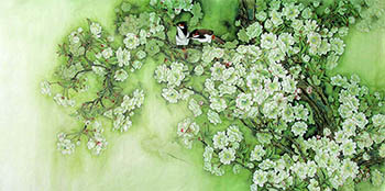 Chinese Cherry Blossom Painting,65cm x 134cm,2387003-x
