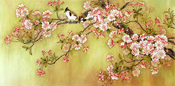 Chinese Cherry Blossom Painting,65cm x 134cm,2387004-x