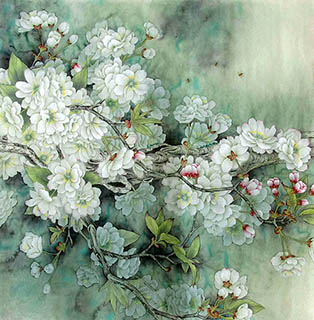 Chinese Cherry Blossom Painting,68cm x 68cm,2387083-x