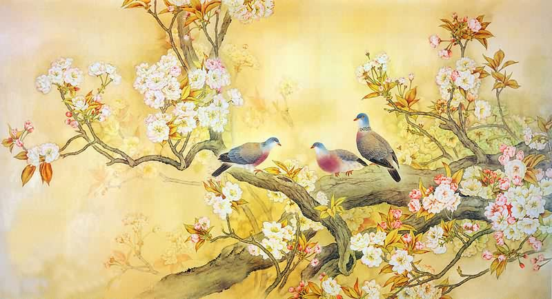 Chinese Cherry Blossom Paintings, China Cherry Blossom Art Scrolls ...