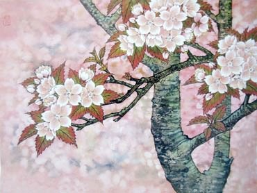 Chinese Cherry Blossom Painting,50cm x 70cm,2401001-x
