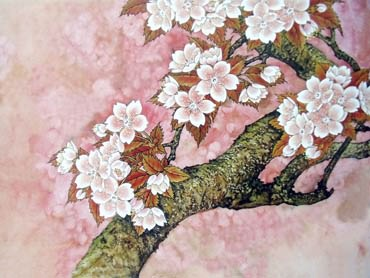 Chinese Cherry Blossom Painting,50cm x 70cm,2401003-x
