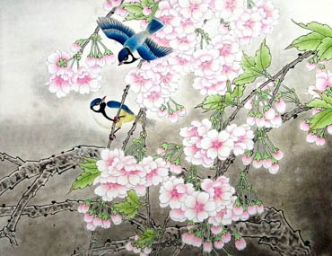 Chinese Cherry Blossom Painting,60cm x 80cm,2401004-x