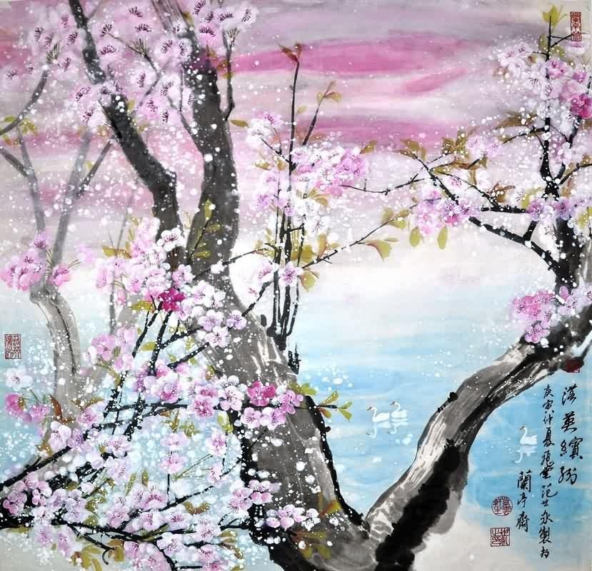 chinese cherry blossom paintings china cherry blossom art scrolls