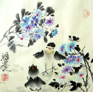 Chinese Chicken Painting,34cm x 35cm,4367004-x