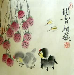 Chinese Chicken Painting,34cm x 35cm,4367005-x