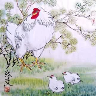 Chinese Chicken Painting,45cm x 45cm,4367006-x