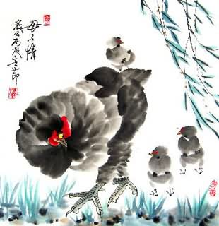 Chinese Chicken Painting,50cm x 50cm,4367007-x