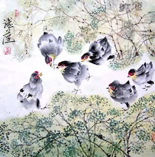 Chinese Chicken Painting,45cm x 45cm,4367008-x