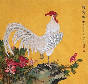 Chinese Chicken Painting,66cm x 66cm,4384004-x