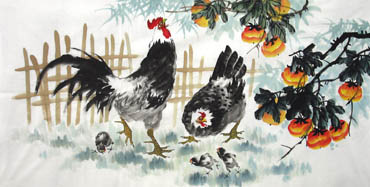 Chinese Chicken Painting,69cm x 138cm,4483002-x