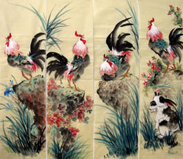 Chinese Chicken Painting,34cm x 120cm,4581001-x