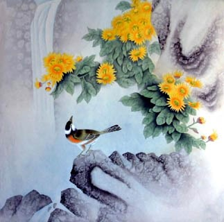 Chinese Chrysanthemum Painting,66cm x 66cm,2319061-x
