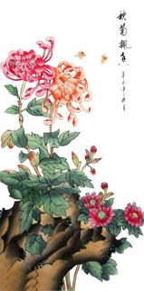 Chinese Chrysanthemum Painting,28cm x 35cm,2336066-x