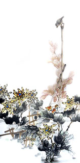 Chinese Chrysanthemum Painting,66cm x 136cm,2336070-x