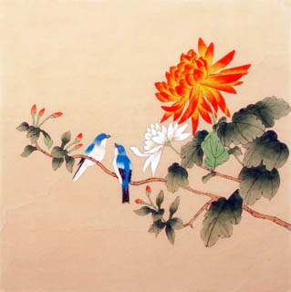 Chinese Chrysanthemum Painting,40cm x 40cm,2340021-x