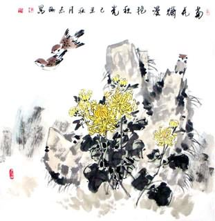 Chinese Chrysanthemum Painting,69cm x 69cm,2360049-x