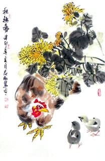 Chinese Chrysanthemum Painting,69cm x 46cm,2360054-x