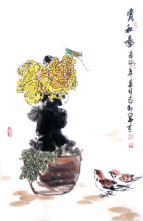 Chinese Chrysanthemum Painting,69cm x 46cm,2360055-x