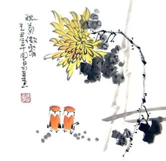 Chinese Chrysanthemum Painting,33cm x 33cm,2396014-x