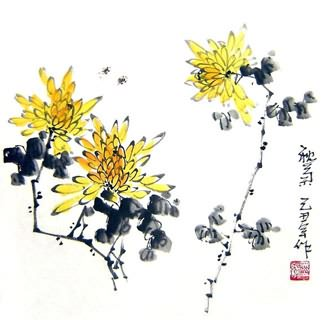 Chinese Chrysanthemum Painting,33cm x 33cm,2396016-x
