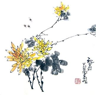 Chinese Chrysanthemum Painting,33cm x 33cm,2396017-x