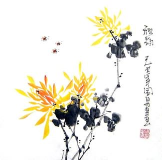 Chinese Chrysanthemum Painting,33cm x 33cm,2396018-x