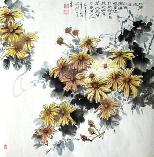 Chinese Chrysanthemum Painting,69cm x 69cm,2403007-x