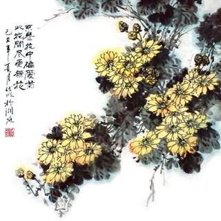 Chinese Chrysanthemum Painting,50cm x 50cm,2403009-x