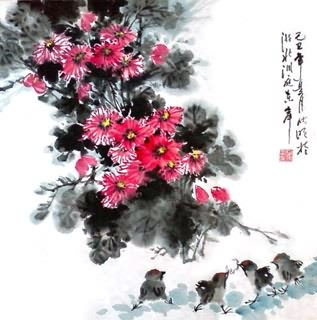 Chinese Chrysanthemum Painting,50cm x 50cm,2403010-x