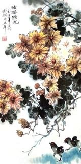 Chinese Chrysanthemum Painting,34cm x 69cm,2403011-x