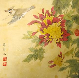 Chinese Chrysanthemum Painting,33cm x 33cm,2405009-x