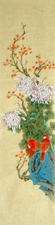 Chinese Chrysanthemum Painting,33cm x 130cm,2429002-x