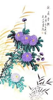 Chinese Chrysanthemum Painting,50cm x 100cm,2431003-x
