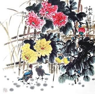 Chinese Chrysanthemum Painting,69cm x 69cm,2432001-x