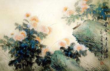 Chinese Chrysanthemum Painting,43cm x 65cm,2435001-x