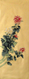 Chinese Chrysanthemum Painting,42cm x 110cm,2611003-x